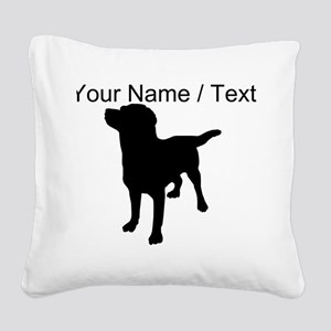 Custom Dog Silhouette Square Canvas Pillow