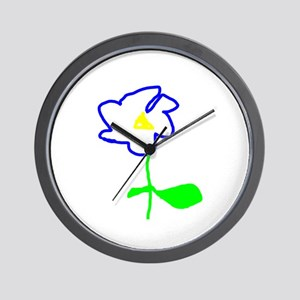 Blue Flower Wall Clock