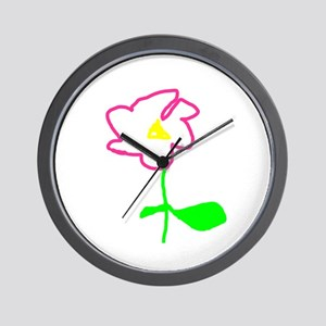 Pink Flower Wall Clock