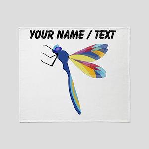 Custom Colorful Dragonfly Throw Blanket