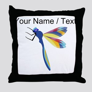 Custom Colorful Dragonfly Throw Pillow