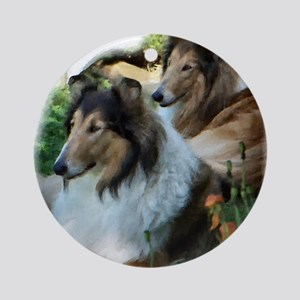 Rough Collie Art Ornament (Round)