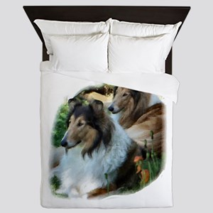 Rough Collie Art Queen Duvet