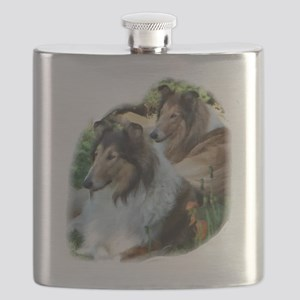 Rough Collie Art Flask