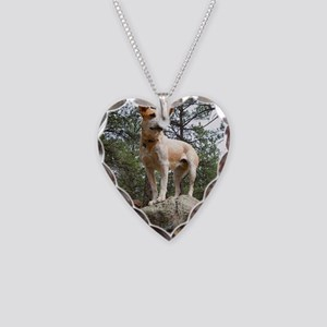 Red Heeler in Mountains Necklace Heart Charm