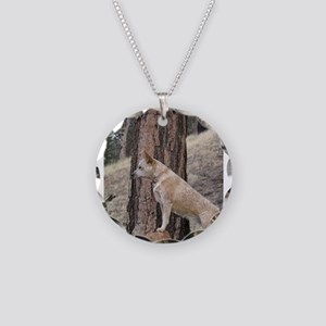 Red Heeler in Mountains Necklace Circle Charm