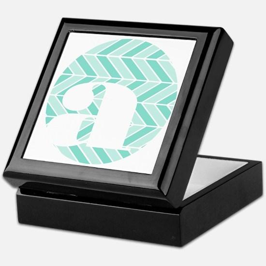 Teal Chevron Monogram-A Keepsake Box