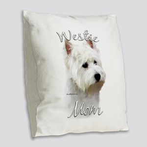 Westie Mom Burlap Throw Pillow