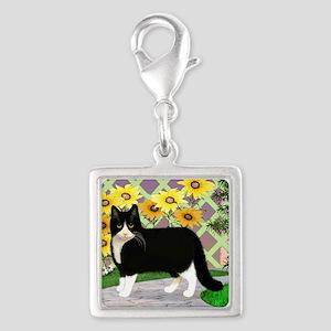 Tuxedo Cat in the Garden Silver Square Charm