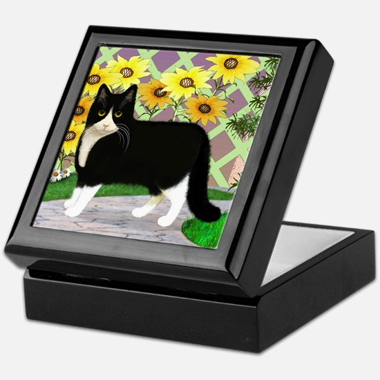 Tuxedo Cat in the Garden Keepsake Box