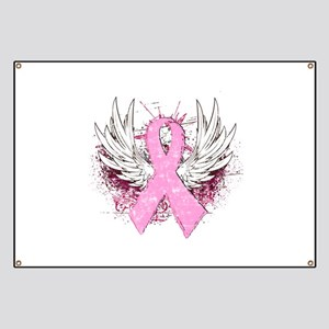 Winged Pink Ribbon Banner