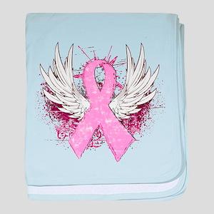 Winged Pink Ribbon Infant Blanket