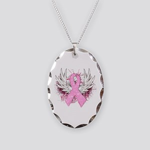 Winged Pink Ribbon Necklace Oval Charm