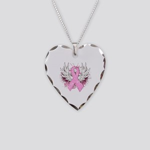 Winged Pink Ribbon Necklace Heart Charm