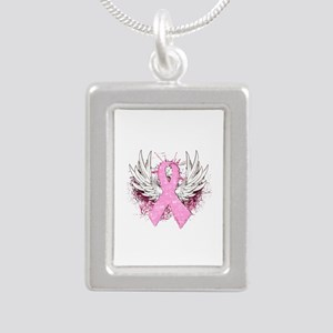 Winged Pink Ribbon Silver Portrait Necklace