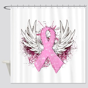 Winged Pink Ribbon Shower Curtain