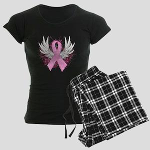 Winged Pink Ribbon Women's Dark Pajamas