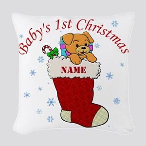 Babys 1st Christmas Woven Throw Pillow