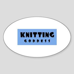 Knitting Goddess Oval Sticker