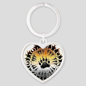 Tribal Bear Pride Paw Heart Keychain