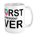 Worst Pres Ever on white T Mugs