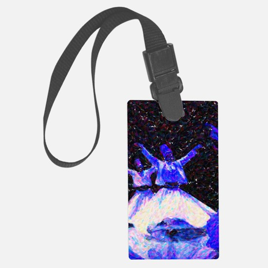 Whirling Dervishes in blue dots Luggage Tag