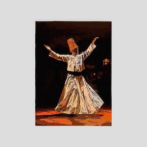 whirling sufi dervish boy sketch 5'x7'Area Rug