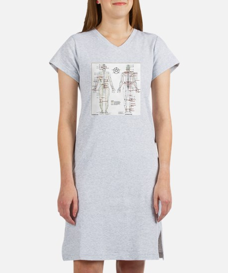 Chinese Meridians and Pressure  Women's Nightshirt