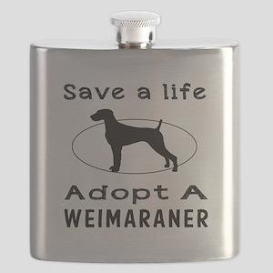 Adopt A Weimaraner Dog Flask