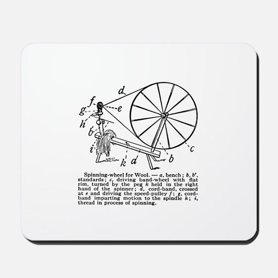 Yarn - Vintage Spinning Wheel Mousepad