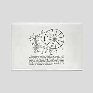 Yarn - Vintage Spinning Wheel Rectangle Magnet