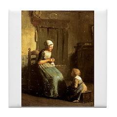The Knitting Lesson Tile Coaster