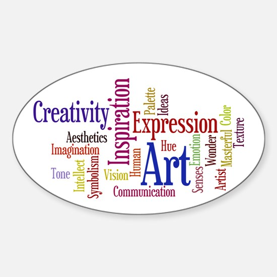 Artists Word Cloud, Creativity, Exp Sticker (Oval)