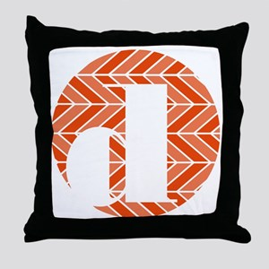 Vermillion Chevron Monogram-D Throw Pillow