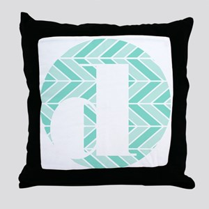 Teal Chevron Monogram-D Throw Pillow