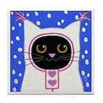 Black CAT Snow Baby ART Tile