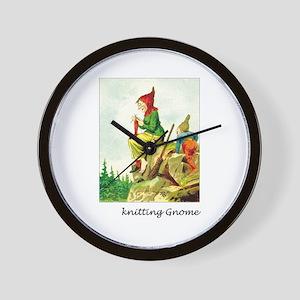 Knitting Gnome Wall Clock
