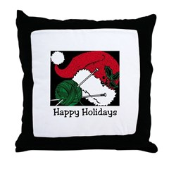 Knitting - Happy Holidays Throw Pillow