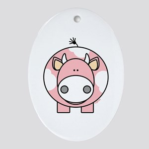 Pink Cow Oval Ornament