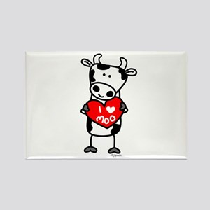 I Love Moo Cow Rectangle Magnet