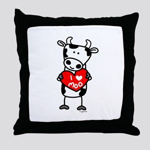 I Love Moo Cow Throw Pillow
