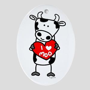 I Love Moo Cow Oval Ornament