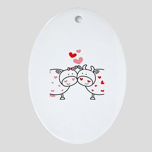 Cows in Love Oval Ornament