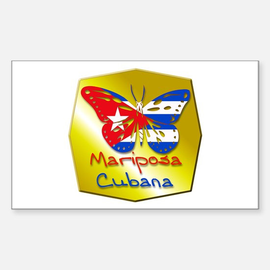 Mariposa Cubana Rectangle Decal