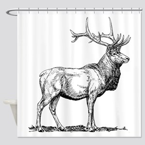 Elk Sketch Shower Curtain