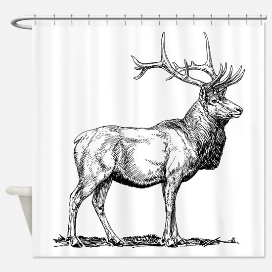 Elk Sketch Shower Curtain