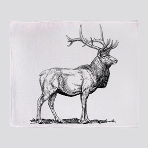 Elk Sketch Throw Blanket