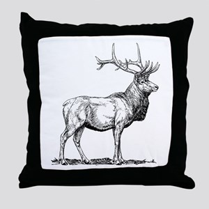 Elk Sketch Throw Pillow