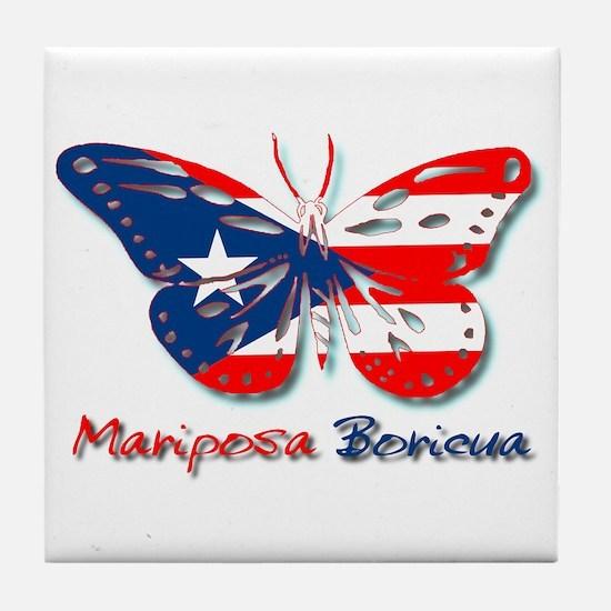 Mariposa Boricua Tile Coaster