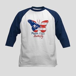 Puerto Rican Butterfly Kids Baseball Jersey